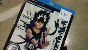 Hopping over to the FUNimation booth just to buy a Blu-ray for Chuck Huber (voice of Hiei) to sign: totally worth it.